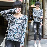 Tx 2014 autumn roll-up hem print cloth patchwork long t-shirt female