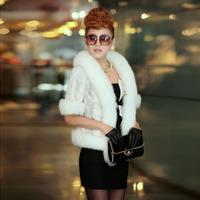 2014 Fashion Winter Jacket Women Natural Mink Fur Coat Waistcoat Solid Color Fox Fur Collar Coat 0376 p1700
