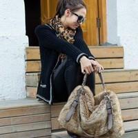2014 faux fur bag rabbit fur fashion vintage colorblock leopard print bag portable shoulder cross-body bag women rabbit handbags