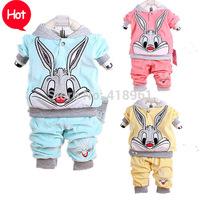 2015 Spring baby set cartoon rabbit velvet set twinset long sleeve set hoodie and pant children clothing sets free shipping