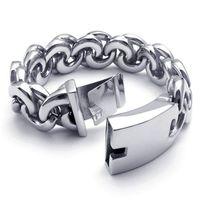 A22167 Wholesale titanium bracelet male style thick 316L stainless steel bracelet long 215mm