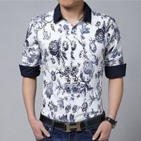 Free Shipping 2014 Top Quality Men Casual Shirt Flower Print Mens Dress Shirts Slim Fit Long-sleeve Camisa Plus Size M-5XL