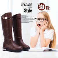 2014 winter and autumn girls fashion genuine leather boots over the knee martin boots children snow boots flats  free shipping