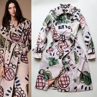 2014 News Windbreaker Fashion classic design print long trench women's belt