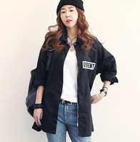 Korean fashion cotton loose letter unisex outerwear print jackets, female women spring autumn boyfriend black jackets maxi