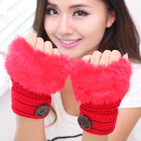 2014 Winter lady imitation rabbit fur mittens mouth keyboard typing couple warm wool gloves half that