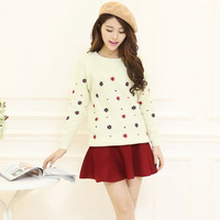 2014 autumn embroidery  turtleneck preppy style pullover sweater female