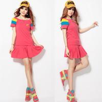 Summer female sports suit fashion large size short skirt short-sleeve female badminton tennis shorts shirt set sportswear