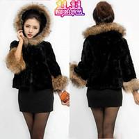 Free shipping Faux fur coat cap vest female fur vest autumn and winter women fur overcoat
