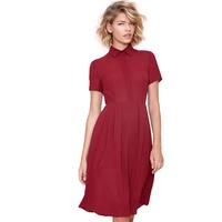 2014 Summer Women's Fashion Shirt Collar Invisible Button Zipper Back Slim Waist Pleated Dress