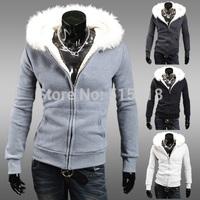 2014 autumn male fashion fur collar with a hood cardigan male slim solid color short paragraph design sweatshirt
