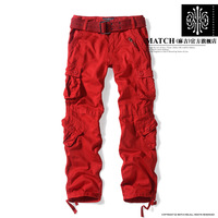 Matchic 2014 women's loose outdoor overalls trousers multi pocket cargo women camouflage pants women casual hip hop dance pants