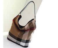 2014 new fashion England style plaid canvas bucket bag hobo bag messenger bag shoulder bag