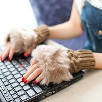 2014 Free shipping retail Autumn & Winter Women warmer fur fingerless Gloves button Knitted Mitten Fashion Gloves