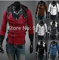 Outerwear male with a hood sweatshirt outerwear male cardigan oblique zipper decoration slim sweatshirt 6