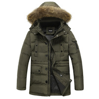 2014 winter new Korean version of fashion trends thick long sections men down jackets fur collar casual jackets