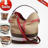 British Style! Plaid canva bucket bag portable one shoulder cross-body women's Leather bags handbags