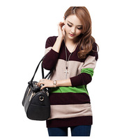 2014 Women's medium-long cashmere color block basic loose slim hip stripe pullover knitted sweater plus size