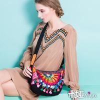 MIYA New arrival embroidery embroidered bag national trend bag canvas bag shoulder bag messenger bag dumplings bag