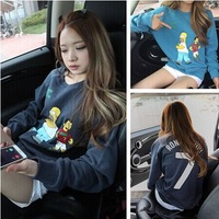 2014 autumn women's preppy style cartoon print loose casual long-sleeve pullover sweatshirt female