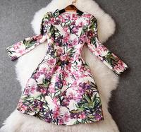 New arrival 2014 women's colorful print jacquard long-sleeve dress