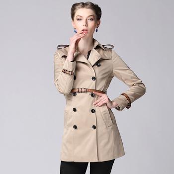Горячие продаж 2014 осень зима британский стиль высокое качество элегантный хлопок габардин Mid - длина пальто с кожаным ремнем # Y9121