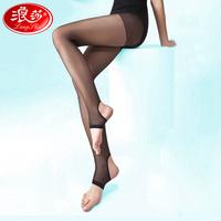 Langsha stockings ultra-thin coverspun wire black pantyhose step foot socks female