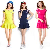 Summer women sports set short-sleeve skorts short skirt short-sleeve women badminton tennis sportswear women sport clothing