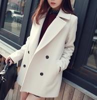 Autumn woolen outerwear female medium-long straight loose wool coat