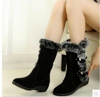 hot sale! Wedges mid-calf  women boots rabbit fur winter boots thick cashmere thermal snow boots shoes woman black/ brown