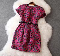 New arrival 2014 women's jacquard loose-waisted belt rose flower one-piece dress