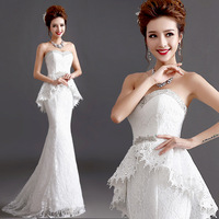 2014 BEST THE ANGEL WEDDING DRESS new arrival Sexy tube top diamond luxury lace straps bride fish tail train wedding dress A298#
