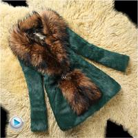 2014 Fur Coat medium-long slim Women's Full leather Rex Rabbit Outwear