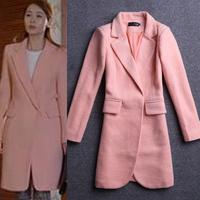 Winter 2014 Women's Wool Blends Coat, Pink woolen thickening outerwear women fleece tops fashion clothing for woman