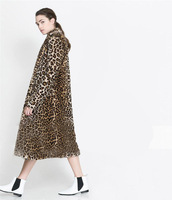 best-selling 2014 autumn and winter leopard print fur overcoat Double sidekicks Free shipping