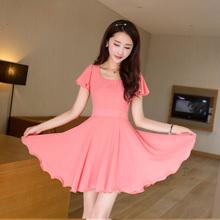2014 short-sleeve chiffon sleeve one-piece dress candy color slim elegant one-piece dress plus size clothing(China (Mainland))