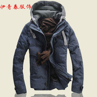 2014 men's autumn and winter clothing down coat casual detachable cap windproof down coat thickening men's clothing outerwear