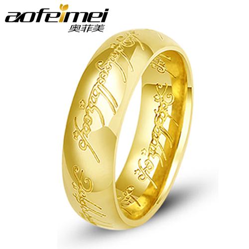 Titanium aço senhor do anel Design um anel de gravação a Laser Size 8 , com 60 cm comprimento 60 cm cadeia 1 pçs/lote(China (Mainland))