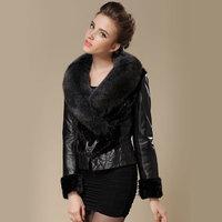 Genuine leather clothing down coat female 2014 vlsivery large blue fox design slim short sheepskin genuine leather female