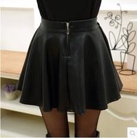 autumn short skirt female zipper pleated small leather skirt gentlewomen high waist PU expansion skirt   (A2609)