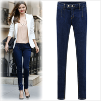 Autumn and Winter 2014 fashion thickening elastic brief elegant denim trousers elastic slim pencil long women jeans pants