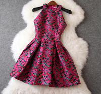 New arrival 2014 women's jacquard halter-neck small stand collar tank dress one-piece dress rose