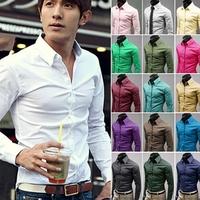 2014 Autumn Winter New Hot Sale 100% Cotton Shirt Turn-Down Collar Multicolor Pure Printing Men Plus Size Blouse Shirt M-XXL