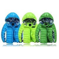 2014 High quality boys kids down coat big children autumn outerwear hooded  coats&jackets for 3-8years boy girl