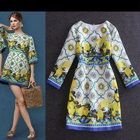 Free shipping! 2014 autumn and winter women fashion o-neck print slim long-sleeve jacquard cotton one-piece dress