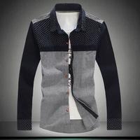 2014 Autumn Men's Long Sleeve Slim Fit Shirts Spring Korean Brand Cotton Corduroy Casual Shirt For Men Clothing Plus Size M-5XL.