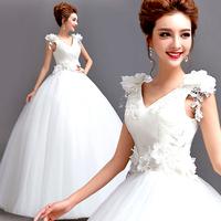 Flower lace wedding dress sexy V-neck slim bandage princess bride wedding dress winter A6891#