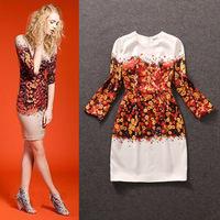 Free shipping! European 2014 autumn and winter women fashion o-neck print slim basic long-sleeve dress