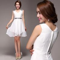 2014 white short design deep V-neck slim one-piece dress princess dress  A12337#