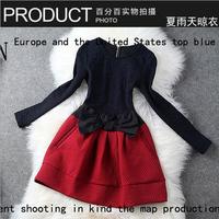 2013 fashion autumn and winter women new arrival fashion elegant jacquard bow slim waist long-sleeve dress